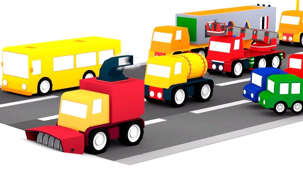 Vamos guardar os enfeites de Natal com os 4 carros coloridos! Desenhos de Natal para crianças