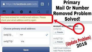 How To Remove Primary Phone number Or Mail from Facebook in Mobile | Technical Problem Facebook 2018