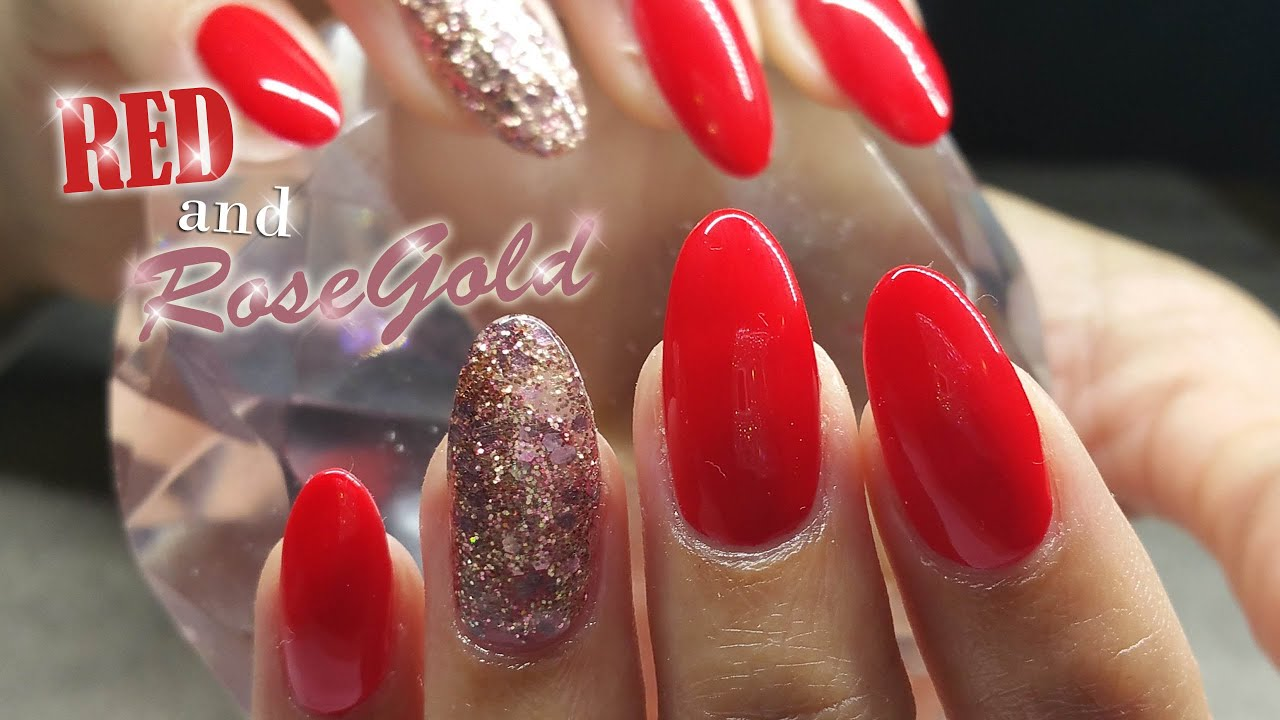 Rose-gold and Red Nail Design - YouTube