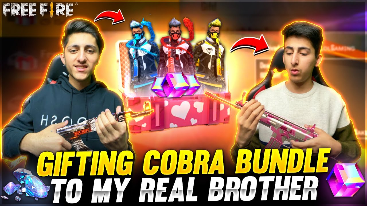 Gifting Cobra Bundle To My Real Brother 20,000 Diamond Spin Crying Moment - Garena Free Fire