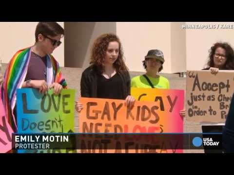 Billboard for gay conversion therapy prompts protest