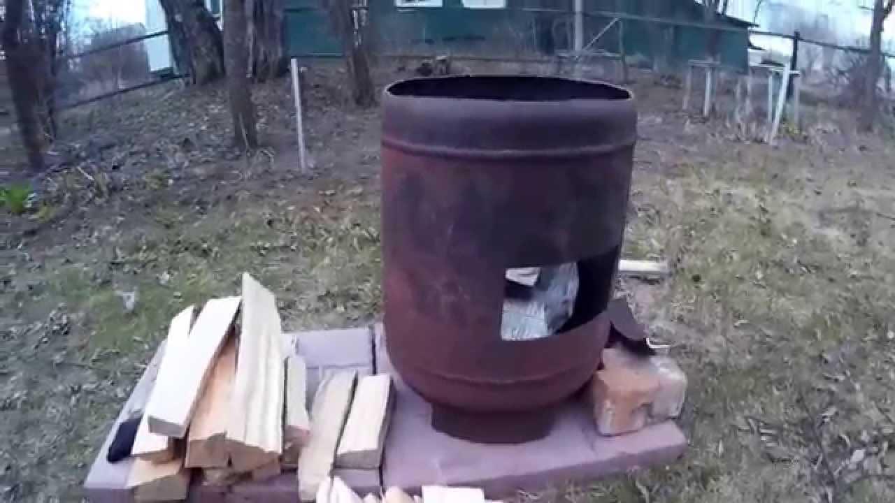 Печь под казан из газового баллона своими руками