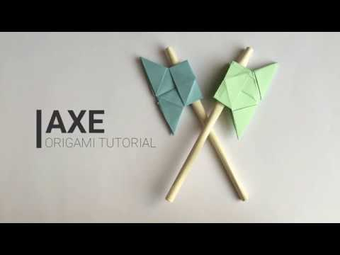 How to make paper AXE, origami easy tutorial