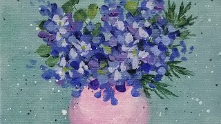 Delphinium Flower of the Month Acrylic Painting LIVE Tutorial