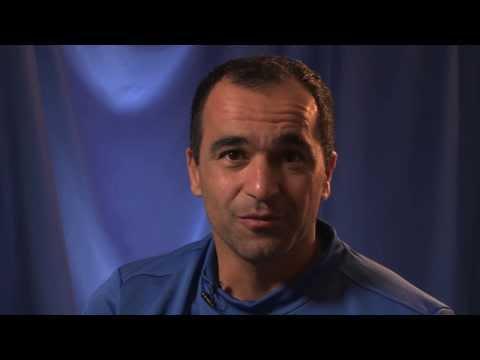 Roberto Martinez addresses the Everton fans