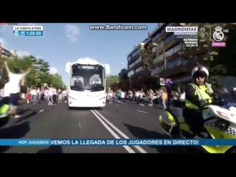 Real Madrid bus arriving at Santiago Bernabeu!