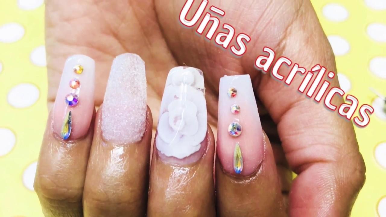 Uñas Acrilicas Con 3d Encapsulada Y Efecto Azucardecoradas Con Piedras