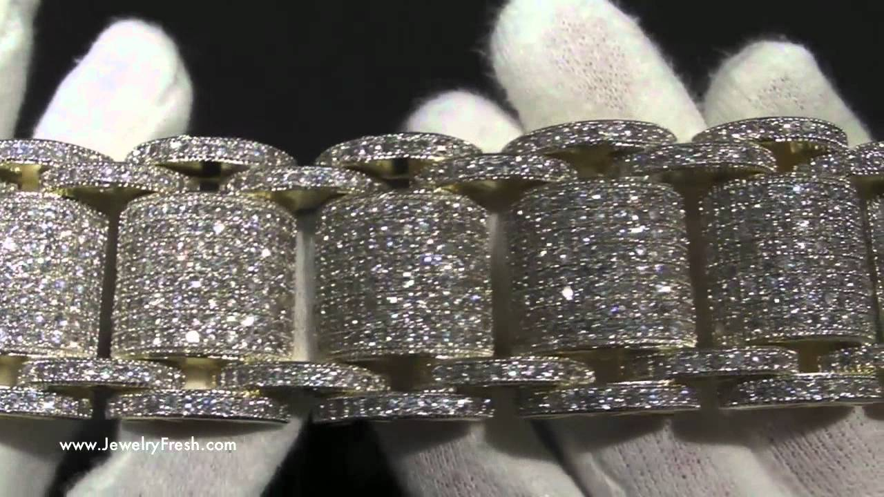Jumbo Gold High End Simulated Diamond Bossman Bling Bracelet Hip