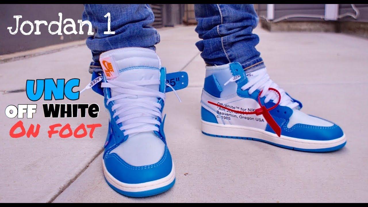 08f0aa2473b3 Jordan 1 UNC Off-White On Feet - YouTube