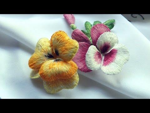 ОБЪЕМНАЯ ВЫШИВКА : цветы ВИОЛА  \ STUMPWORK : Flowers Viola
