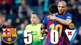 Download the onefootball app here - http://tinyurl.com/tgpx5et lionel messi scored an incredible four goals as barcelona comfortable beat eibar at camp n...