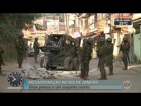 Megaoperação entre o Exército e a polícia prende 11 pessoas no Rio | SBT Brasil (28/06/18)