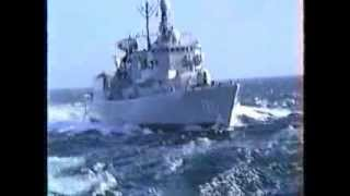 Repeat youtube video Hr Ms Philips van Almonde (F823) at rough sea filmed from Hr Ms Zuiderkruis (A832) Dutch Navy