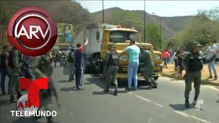 Camiones del ejército venezolano bloquean a Guaidó | Al Rojo Vivo | Telemundo