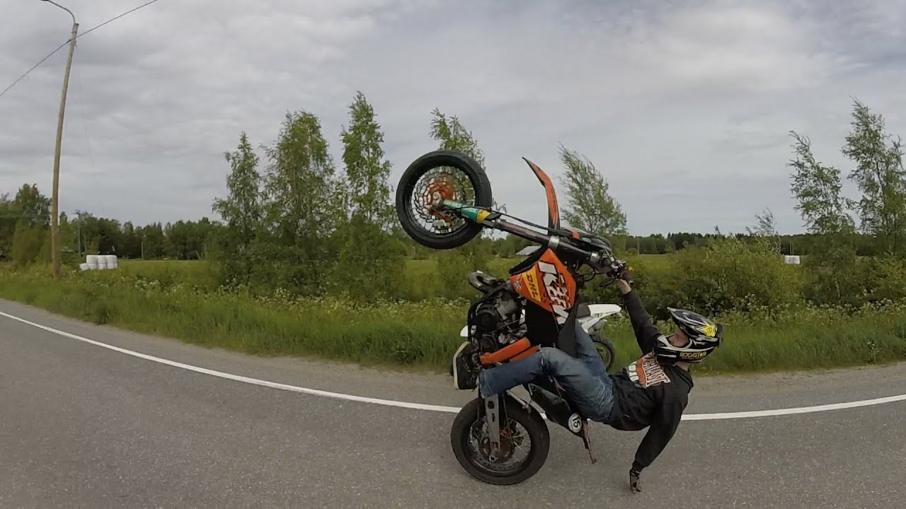 ktm exc 125 supermoto stuntriding in finland youtube. Black Bedroom Furniture Sets. Home Design Ideas