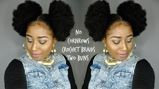 NO CORNROWS CROCHET BRAIDS  || DOUBLE BUN