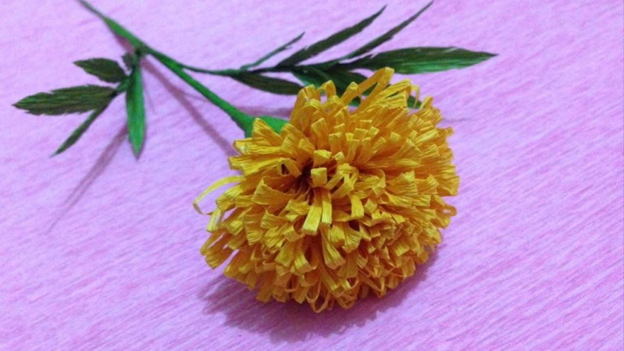 How To Make Marigold Crepe Paper Flowers Flower Making Of Crepe Paper Paper Flower Tutorial