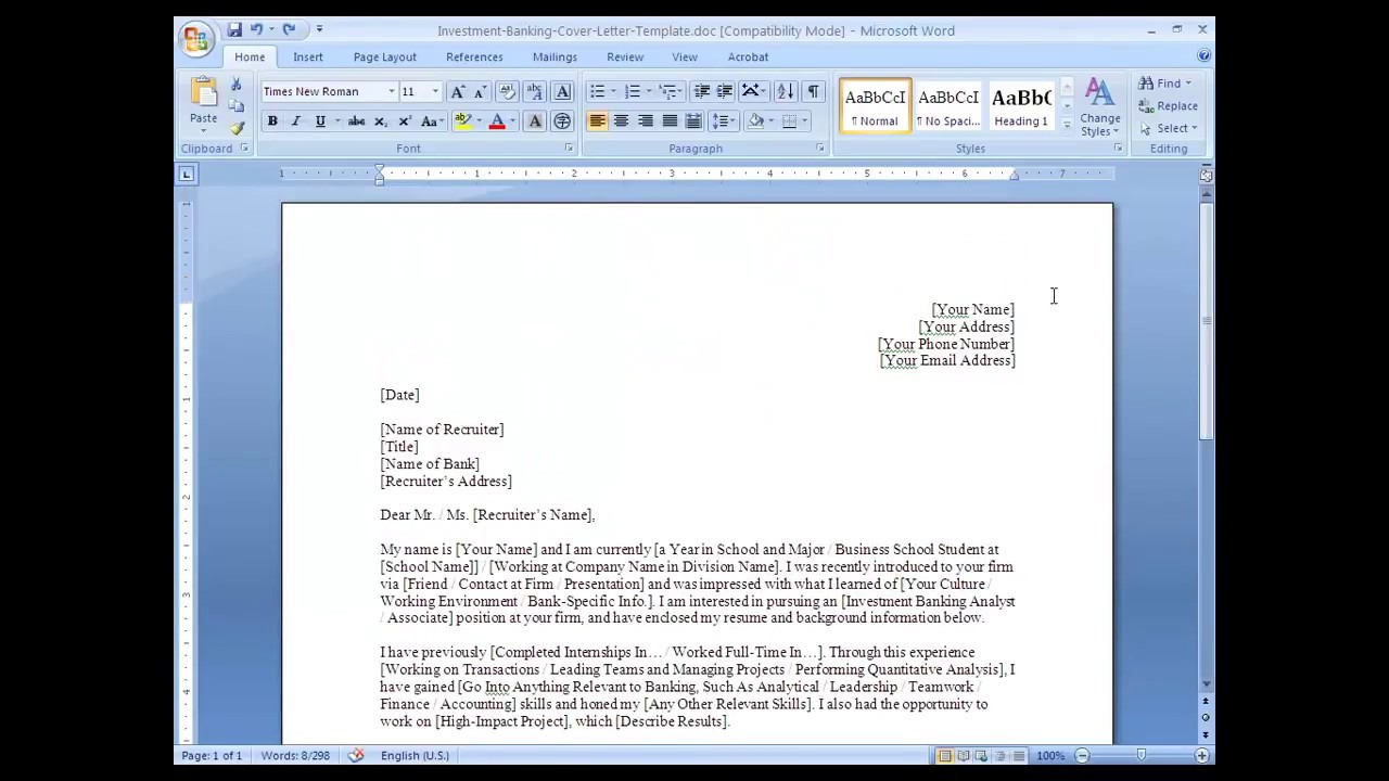 IB Application 02   Cover Letter