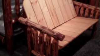 Amish Bench - Rustic Pine Log Loveseat By Montana Woodworks