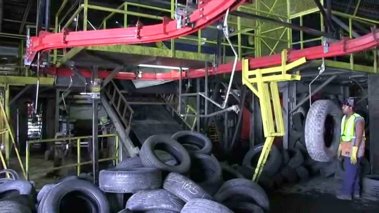 overhead conveyor  tire recycling youtube