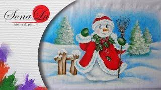 Boneco de Neve com Cerca em Tecido