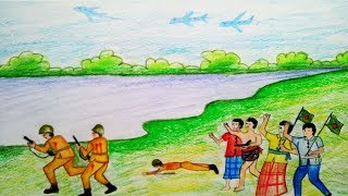 How to draw Liveration war of bangladesh.Step by step(easy draw)