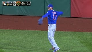 Bryant plays center field, catches fly ball