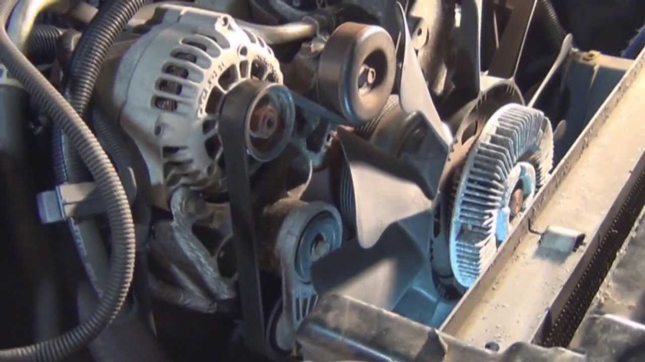 How to replace a serpentine belt on a Tahoe 57 with Air Conditioning  YouTube