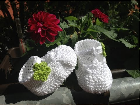 Crochet Tutorial Zapatitos Bebe Escarpines : Escarp?nes de bebe con correa en crochet - Instruccion zapatitos de ...