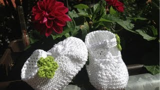 Repeat youtube video Escarpínes de bebe con correa en crochet - Instrucción zapatitos de BerlinCrochet - Parte1, Suela