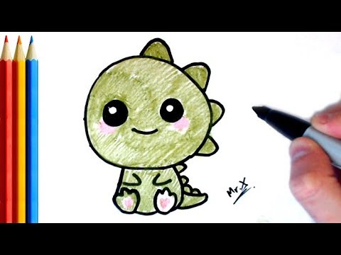 How To Draw Easy Cute Dinosaur Step By Step Tutorial Youtube