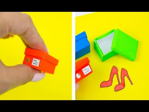 MINIATURE SHOES BOX FOR DOLL DIY TUTORIAL FOR GIRLS