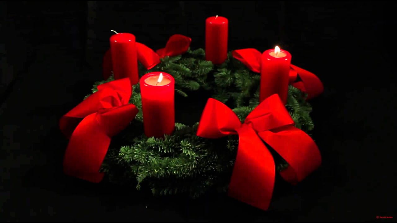 2nd Advent Wreath - German Adventskranz - with two candles lit for the ...