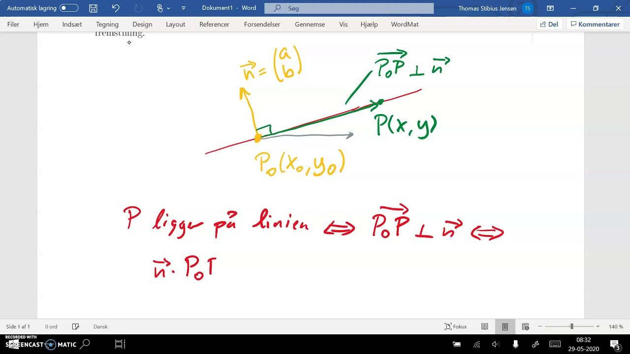 spg7 del1a liniens ligning