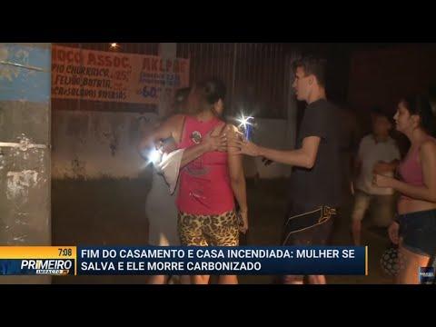 Homem põe fogo em casa e esposa consegue se salvar - Primeiro Impacto PR (18/09/19)
