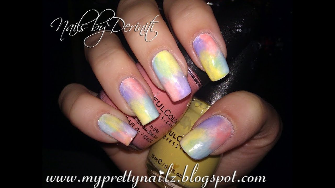 Easy 4 Color Instant Ombre Sponge Gradient Nail Art Tutorial Youtube