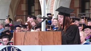 Past Graduate SA President Alessandra Forucci speaks at Rice Commencement