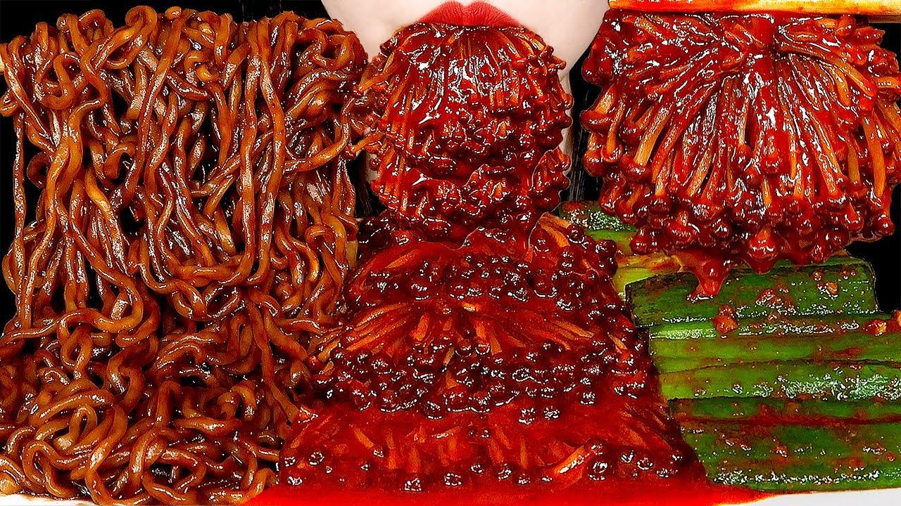 ASMR SPICY ENOKI MUSHROOMS, BLACK BEAN NOODLES, GREEN ONION KIMCHI 대파김치, 불닭팽이버섯, 짜파게티 먹방 咀嚼音 MUKBANG