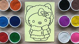 Đồ chơi trẻ em TÔ MÀU TRANH CÁT MÈO HELLO KITTY MẶC ÁO MÙA ĐÔNG - Colored sand painting (Chim Xinh)