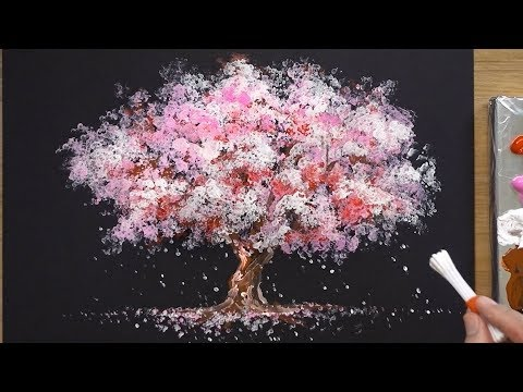 How to Paint a Cherry Tree in Acrylic - Sakura Q-tip Painting Techniques