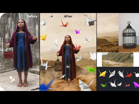 Photoshop CC Manipulation Tutorial : Girl Her Paper Cranes Fantasy Story