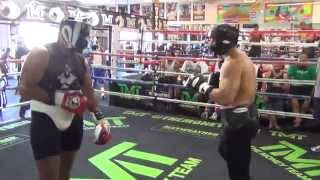 Heavyweight sparring inside the Mayweather Boxing Club