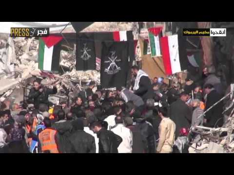 Syria  Damascus  U.N. delivered relief parcels at Yarmouk camp 30-1-2014