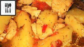 Картофель с курицей и болгарским перцем по-турецки. Очень  быстро и вкусно/Sulu patatesli tavuk