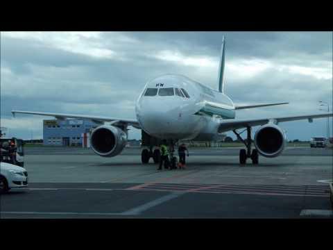 Flight on CSA Czech Airlines ATR-72 Prague to Frankfurt Airport (takeoff, approach, landing, taxi)