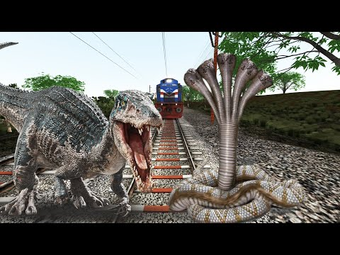 Enormous DINOSAUR and GIANT FIVE-HEADED SNAKE fighting on railway track try to stop the train