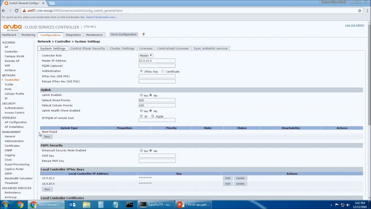 Aruba Controller: Access Point Configuration and Setup