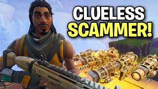 Scammer loses his guns and doesn't even realize! 🤣 (Scammer Get Scammed) Fortnite Save The World