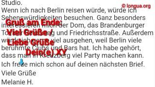 B1 schriftlich - Schreiben - Persönlicher Brief, Hobby, Reise, Berlin, telc, Goethe Zertifikat