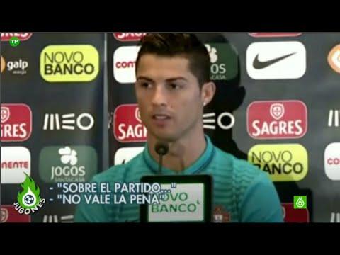 Cristiano Ronaldo se molesta con reportera de CMTV en rueda de prensa | 2014